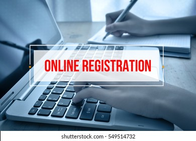 Hand Typing on keyboard with text ONLINE REGISTRATION
