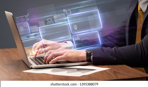Hand typing on laptop with online accounting system concept
