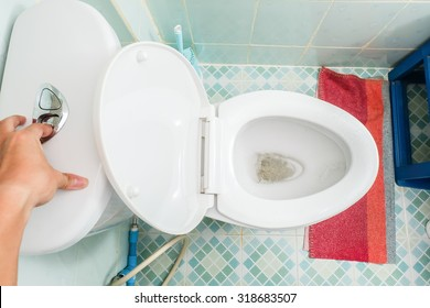 Hand use flush cleaning toilet / Top view