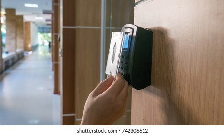 Hand to use key card open automatic access security door control