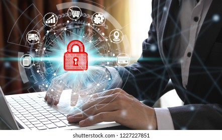 hand use laptop computer with padlock icon technology, Cyber Security Data Protection Business Technology Privacy concept