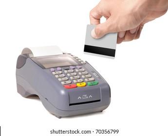 hand using credit card machine