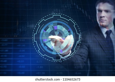 Hand using electronic device with digital business interface. Future, communication and forex concept. Double exposure