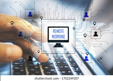 Hand using laptop on table with remote work interface. Remote access chain communication concept. Double exposure