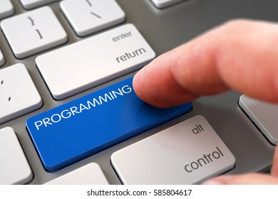 Hand using Modern Laptop Keyboard with Programming Blue Button. 3D Illustration.