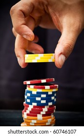 Hand using poker chips