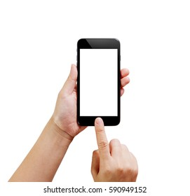 Hand Using Smartphone with White Screen Isolate on white background, Mockup of Modern Black Color Smartphone with Clipping Path Inside