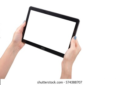Hand using tablet isolated white clipping path inside