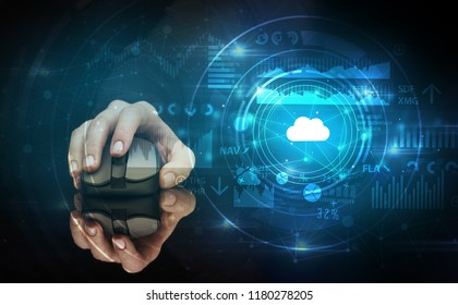Hand using wireless mouse with cloud technology concept and dark background