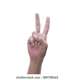 Hand victory sign ,Two finger symbol with clipping path