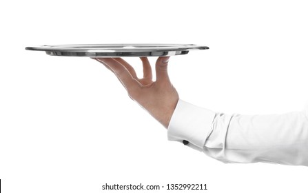 Hand of waiter with empty tray on white background