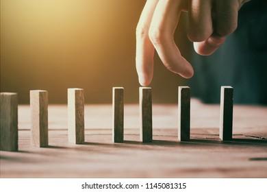 hand walk progress on  wooden block sPersonal development  motivate employee to growth.