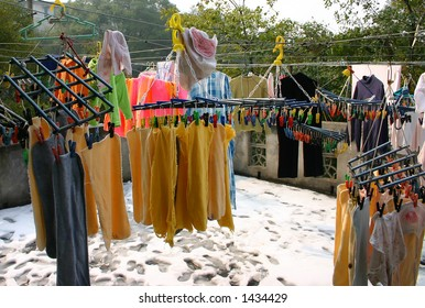 Hand washed laundry in winter, China