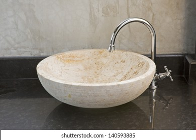 Hand washing basin with grey background