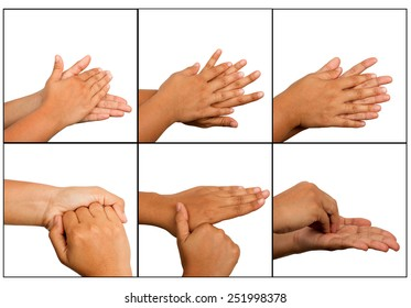 Hand washing procedure, real hand photo. over white background
