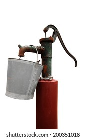 Hand water pump with metal bucket isolated - retro style (old water pump)