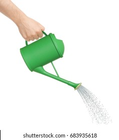 Hand watering from a watering can