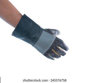 hand wearing construction glove on white background
