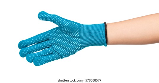 hand wearing a green gloves isolated on white background