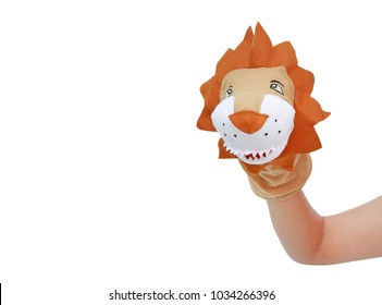 Hand wearing Lion puppets with copy space isolated on white background, Lion head.