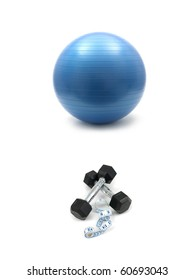 Hand weights and a fit ball isolated against a white background