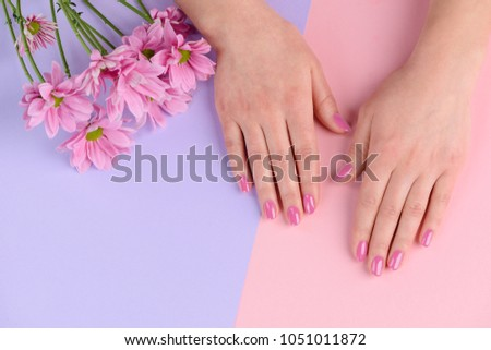 Hand Wellgroomed Nails Pale Pink Nail Stock Photo Edit Now