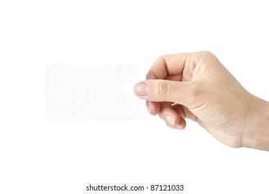 hand a white card