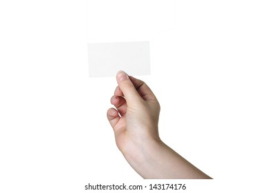 Hand with white card on a white background