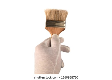 Hand in white glove holds a brush. Isolated closeup on white background. Concept of painting decoration, home improvement or renovation. Paintbrush as a working tool for dyeing