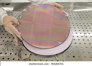 Hand with white gloves Holds a silicon wafers reflecting different colors, Electronic Manufacturing Factory Semiconductor.