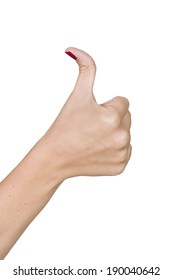 hand of a white young woman showing thumbs up with thumb bent far back
