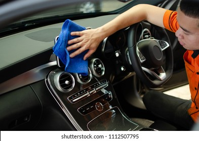 Hand wipe microfiber cloth cleaning car interior, Fucus  On Hand