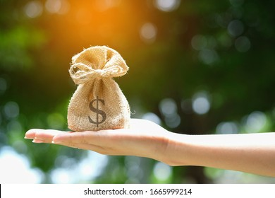 Hand of a woman carrying a purse money .concept saving money and investment concept