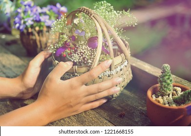 The hand of a woman is decorating a flower.