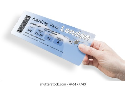 Hand of a woman holding a airplane ticket to London