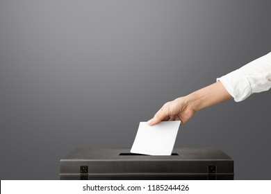 The hand of woman holding ballot paper for election vote concept at gray background.