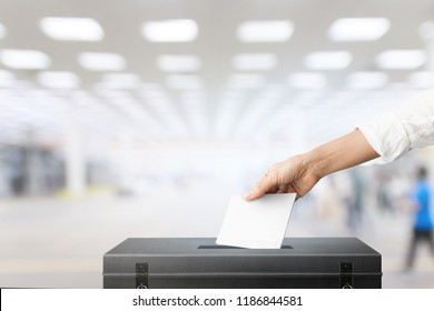 The hand of woman holding ballot paper for election vote concept at place election background.