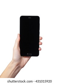 Hand of woman holding black smartphone on white background.