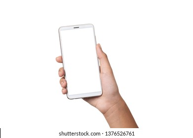 Hand woman holding smartphone with blank screen isolated on white background with clipping path