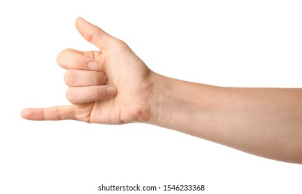 Hand of woman on white background