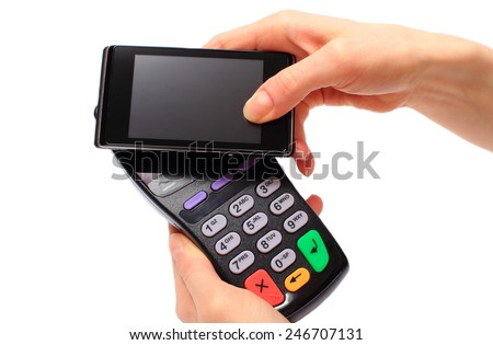 Hand Woman Paying NFC Technology On Stock Photo (Edit Now