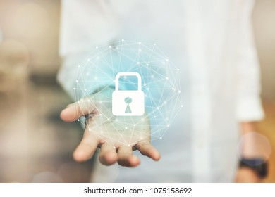 Hand of woman is protection digital network with lock icon. To prevent access to personal information. Concept cyber security.