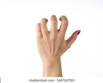 hand of a woman trying to reach or grab something. fling, touch sign. isolated on white background.