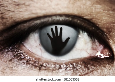 hand of woman In the twinkling of an eye, human trafficking concept