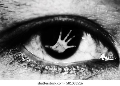 hand of woman In the twinkling of an eye, in white tone, human trafficking concept