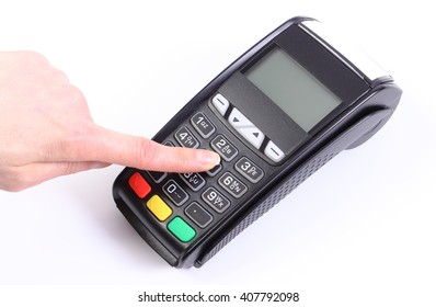 Hand of woman using payment terminal, enter personal identification number, credit card reader, cashless paying for shopping