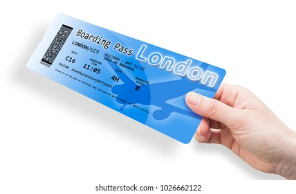 Hand of a women holding an airplane ticket to London - The contents of the image are totally invented and does not contain under copyright parts.
