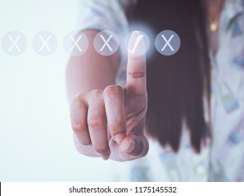 hand women pressing buttons no or yes on virtual touch screen