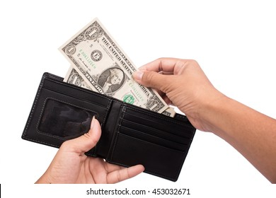 Hand women taking dollars money from black wallet
