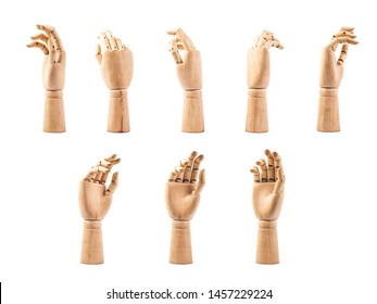 hand of wood doll make fingers to touch on white bakground .